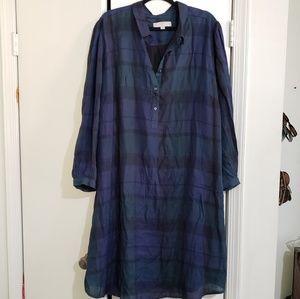 Plaid Waist Tie Shirtdress (Size 24)